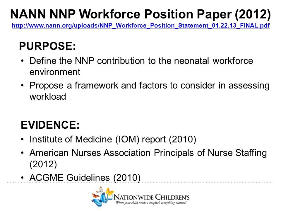 NANN NNP Workforce Position Paper (2012) http://www. nann