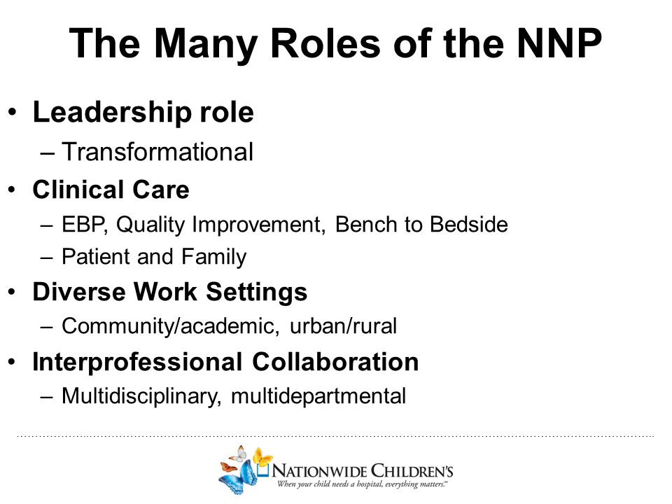 The Many Roles of the NNP