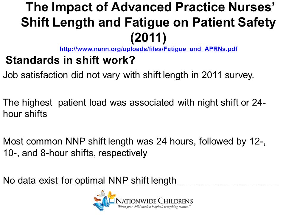 The Impact of Advanced Practice Nurses' Shift Length and Fatigue on Patient Safety (2011) http://www.nann.org/uploads/files/Fatigue_and_APRNs.pdf
