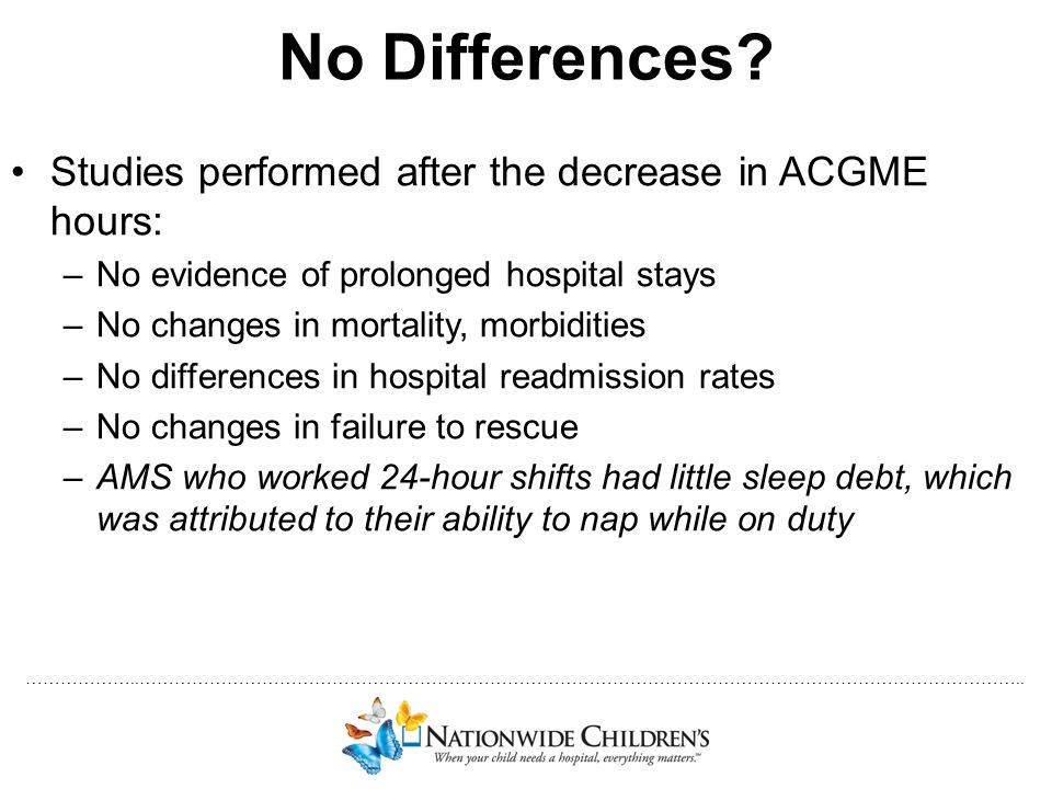 No Differences Studies performed after the decrease in ACGME hours: