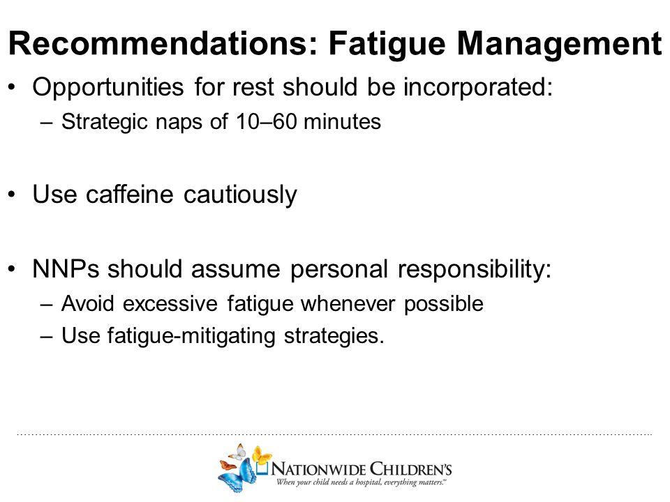 Recommendations: Fatigue Management