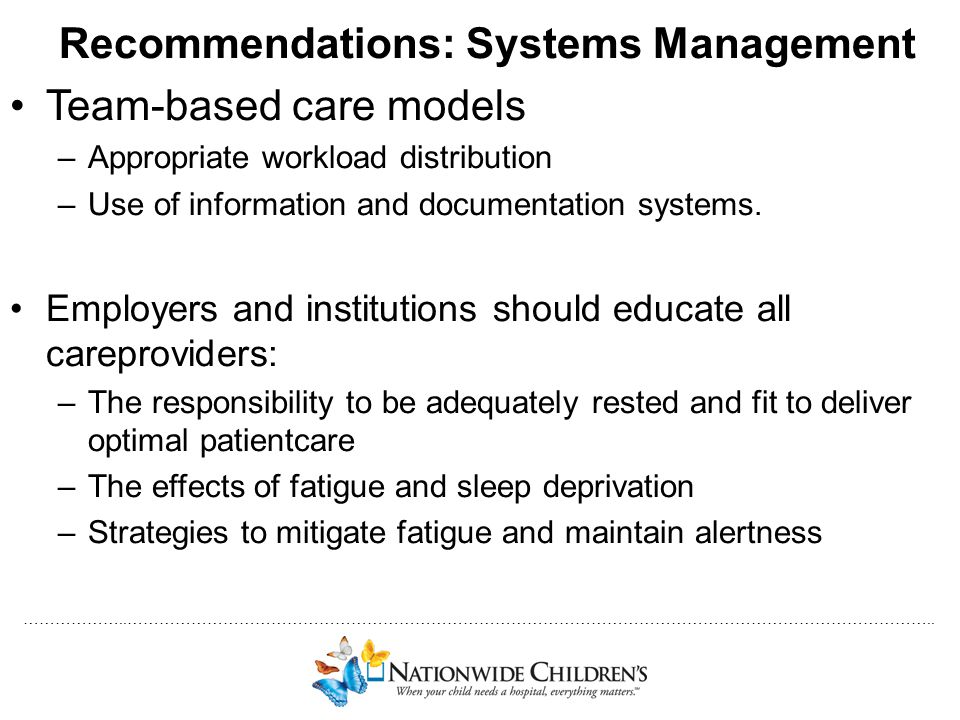 Recommendations: Systems Management