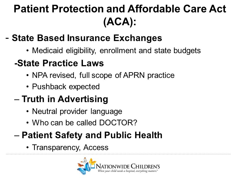 Patient Protection and Affordable Care Act (ACA):