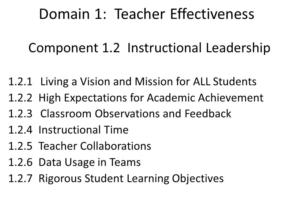 Domain 1: Teacher Effectiveness