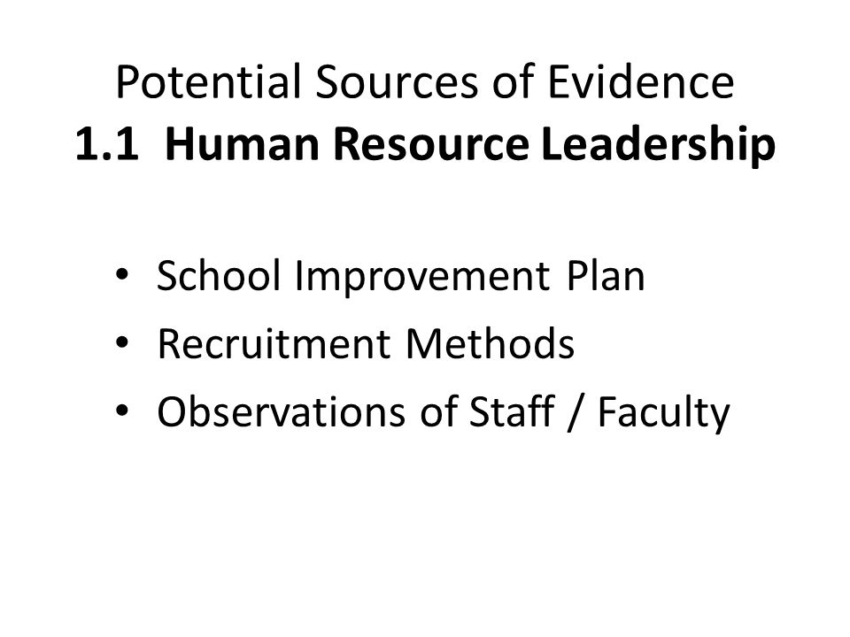 Potential Sources of Evidence 1.1 Human Resource Leadership
