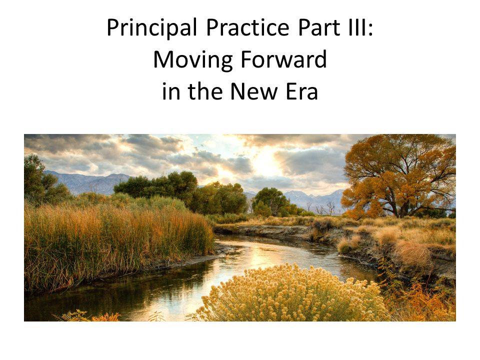 Principal Practice Part III: Moving Forward in the New Era
