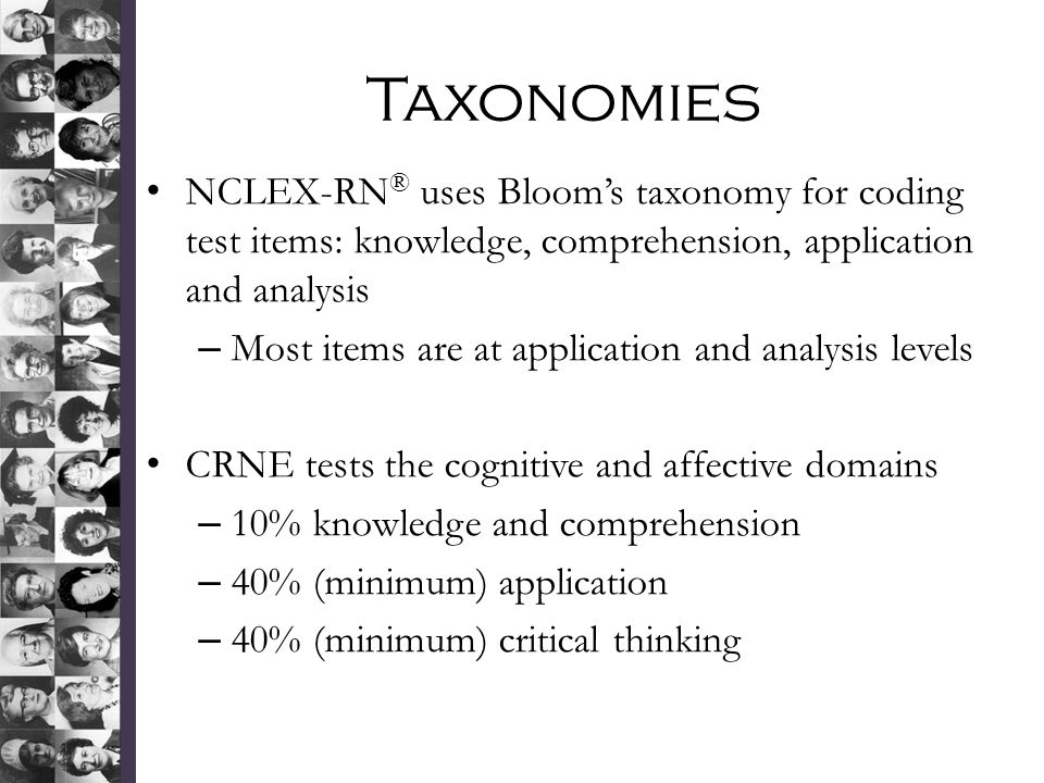Taxonomies NCLEX-RN® uses Bloom's taxonomy for coding test items: knowledge, comprehension, application and analysis.