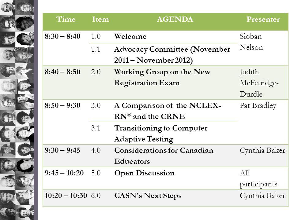Time Item. AGENDA. Presenter. 8:30 – 8:40. 1.0. Welcome. Sioban Nelson. 1.1. Advocacy Committee (November 2011 – November 2012)