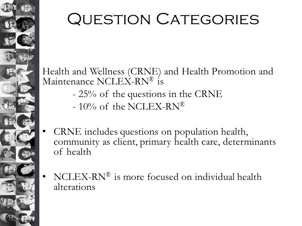Question Categories Health and Wellness (CRNE) and Health Promotion and Maintenance NCLEX-RN® is. - 25% of the questions in the CRNE.