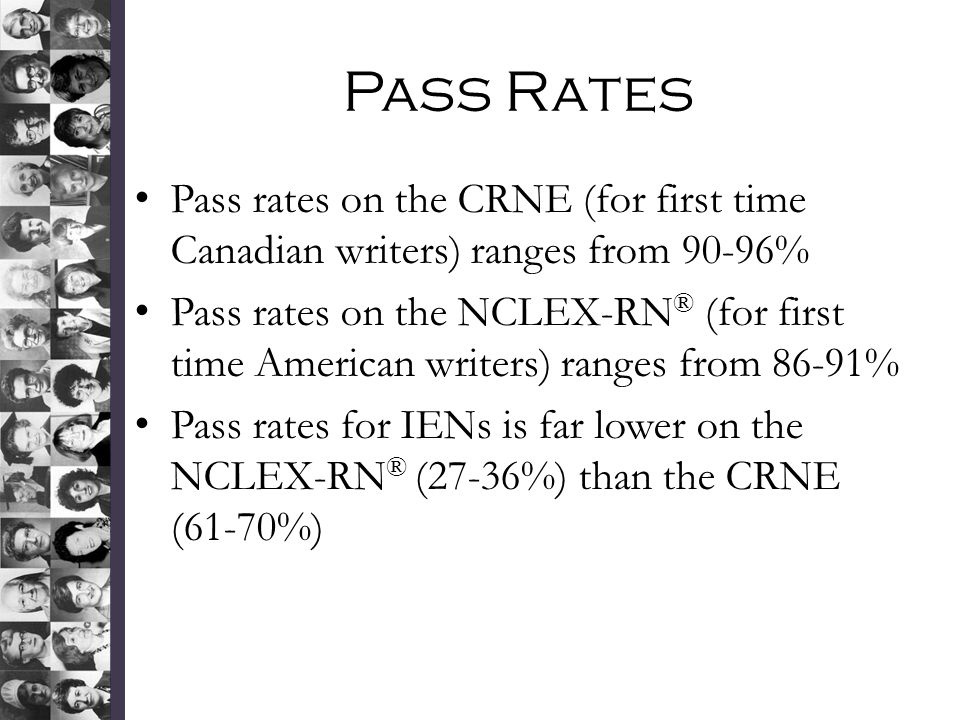Pass Rates Pass rates on the CRNE (for first time Canadian writers) ranges from 90-96%