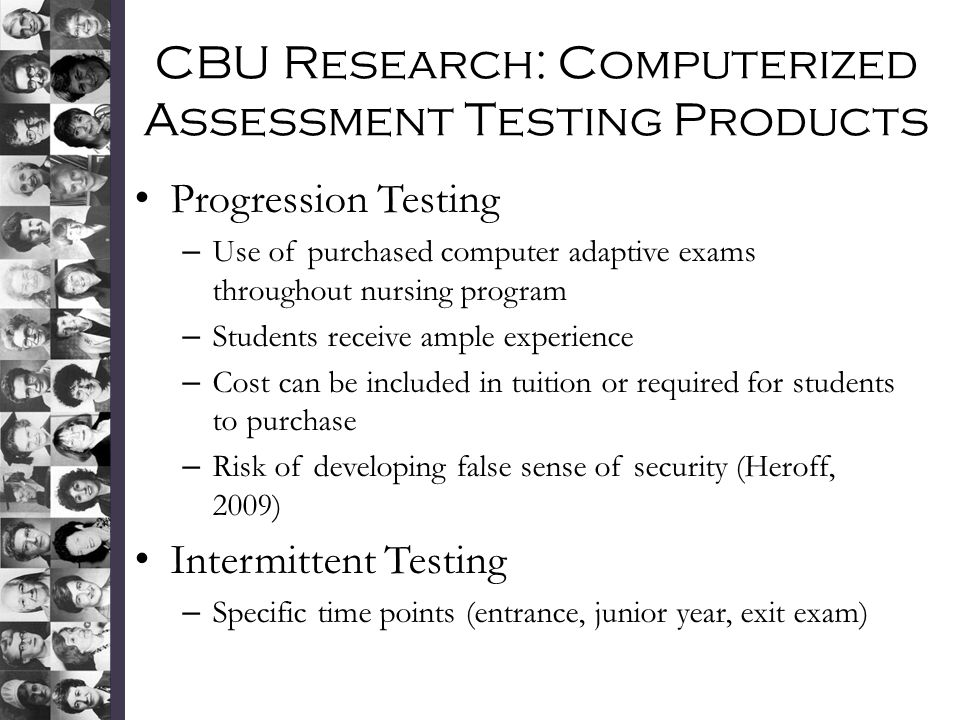 CBU Research: Computerized Assessment Testing Products