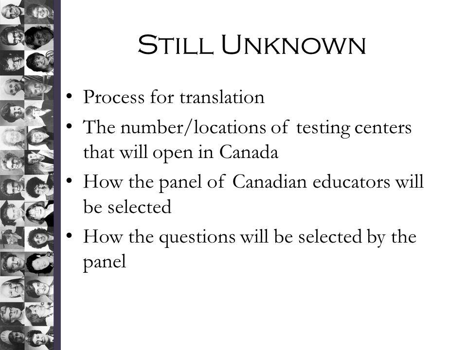 Still Unknown Process for translation