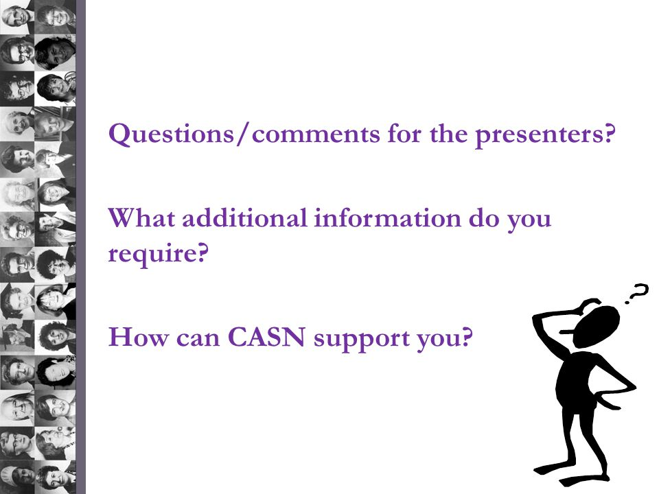 Questions/comments for the presenters