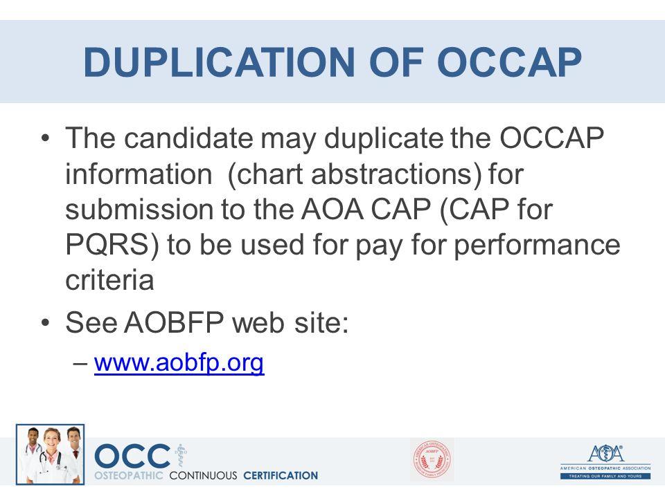 DUPLICATION OF OCCAP
