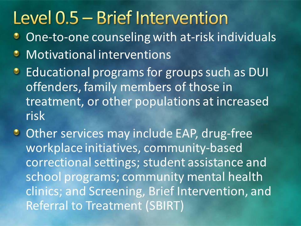 Level 0.5 – Brief Intervention