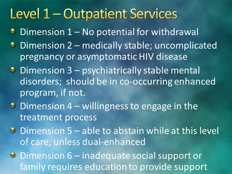 Level 1 – Outpatient Services