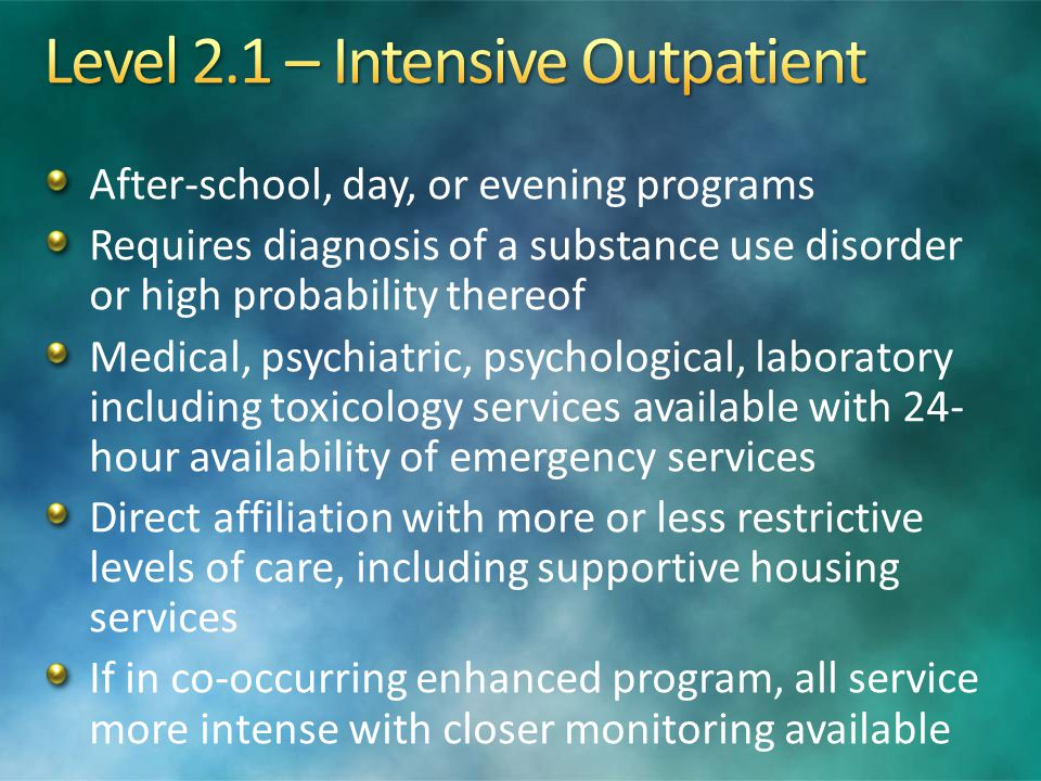 Level 2.1 – Intensive Outpatient