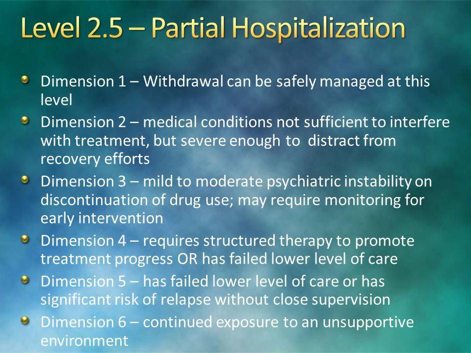 Level 2.5 – Partial Hospitalization