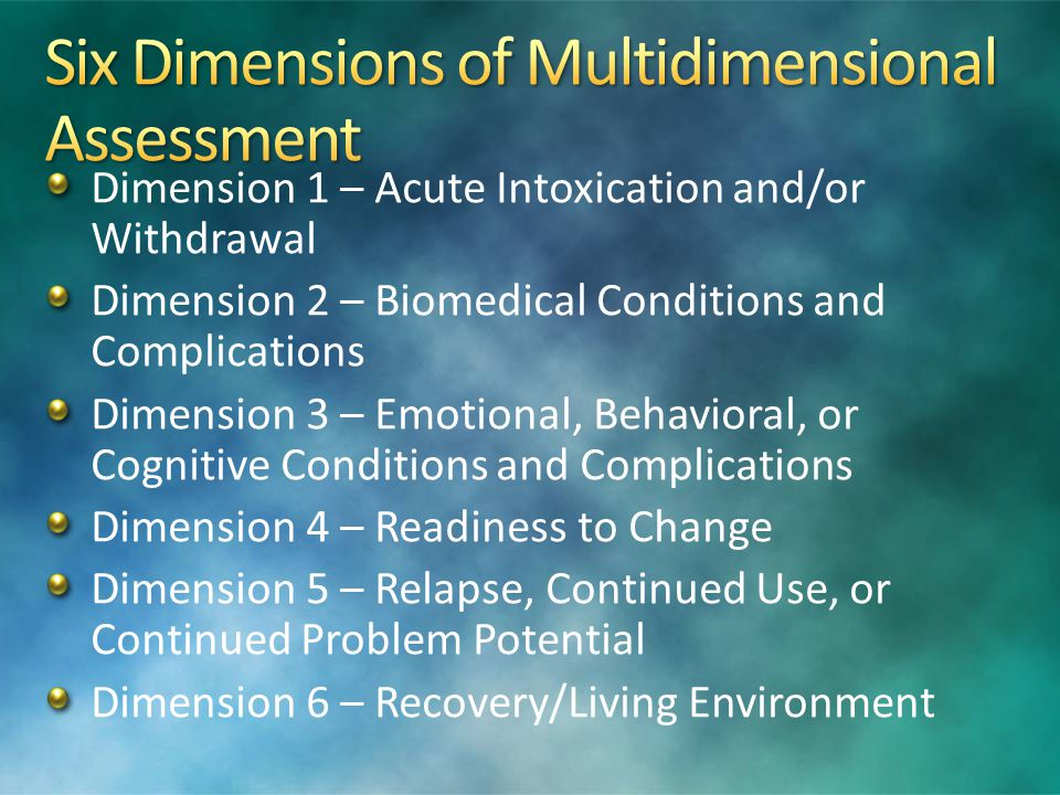 Six Dimensions of Multidimensional Assessment