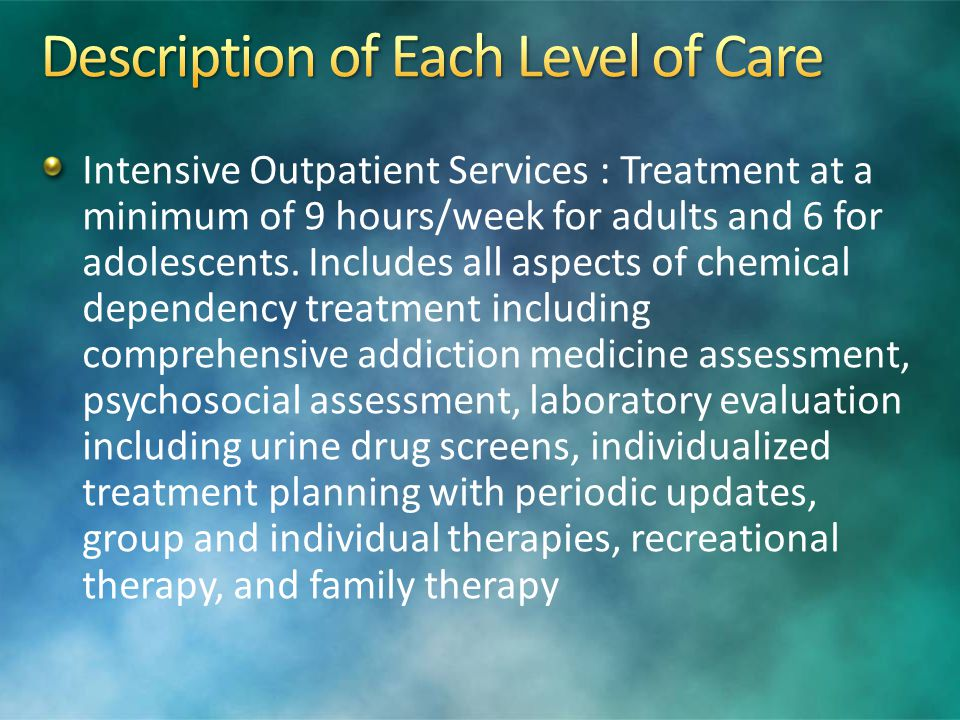 Description of Each Level of Care