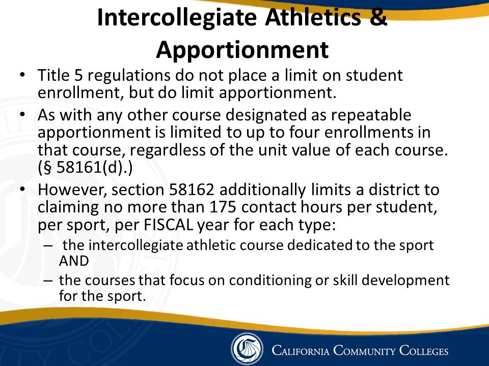 Intercollegiate Athletics & Apportionment