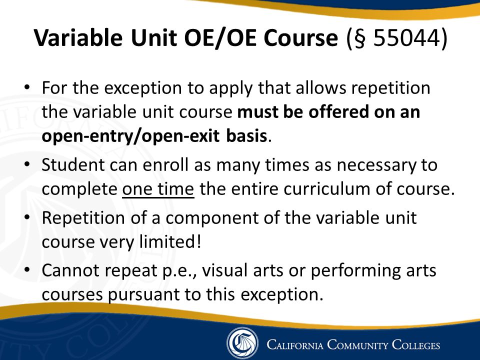 Variable Unit OE/OE Course (§ 55044)