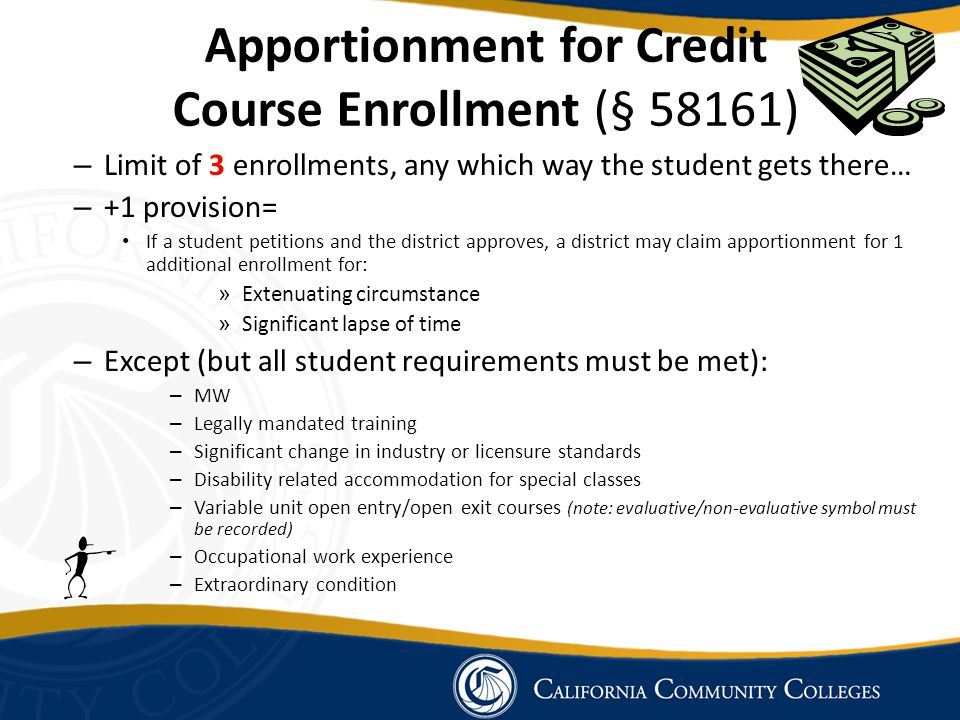Apportionment for Credit Course Enrollment (§ 58161)