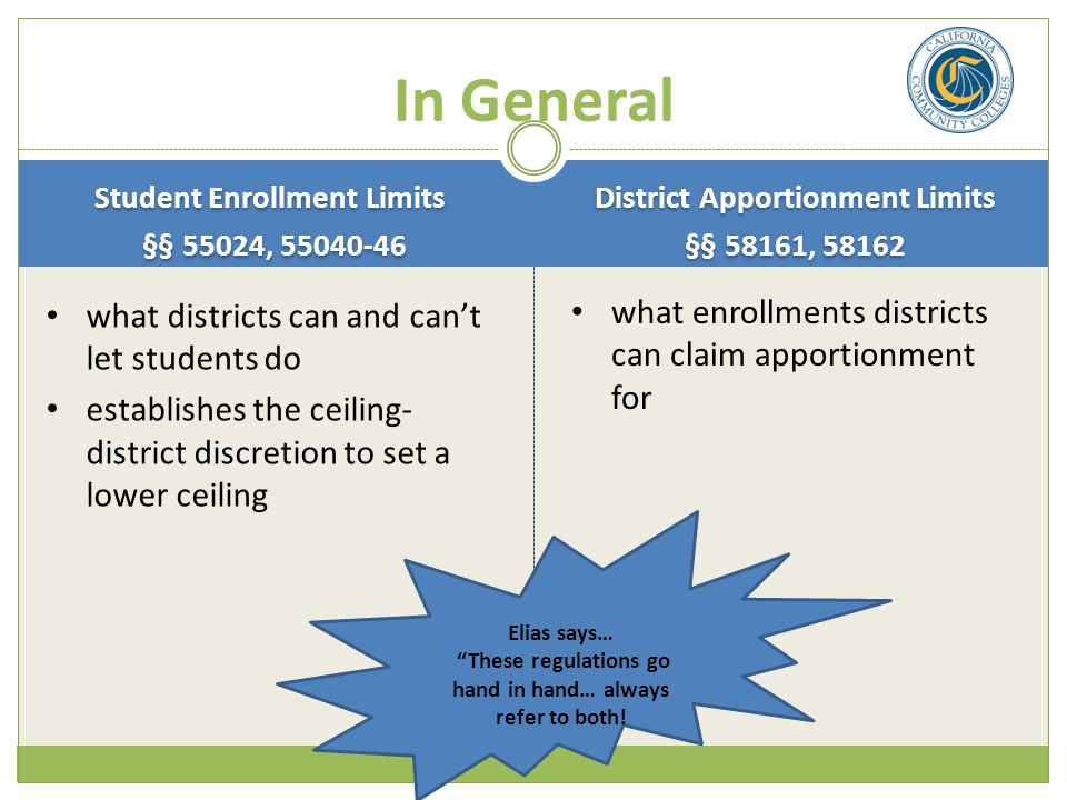 In General what enrollments districts can claim apportionment for