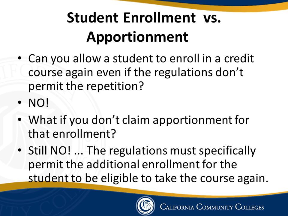 Student Enrollment vs. Apportionment