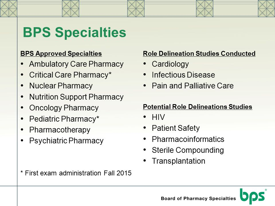BPS Specialties Ambulatory Care Pharmacy Critical Care Pharmacy*