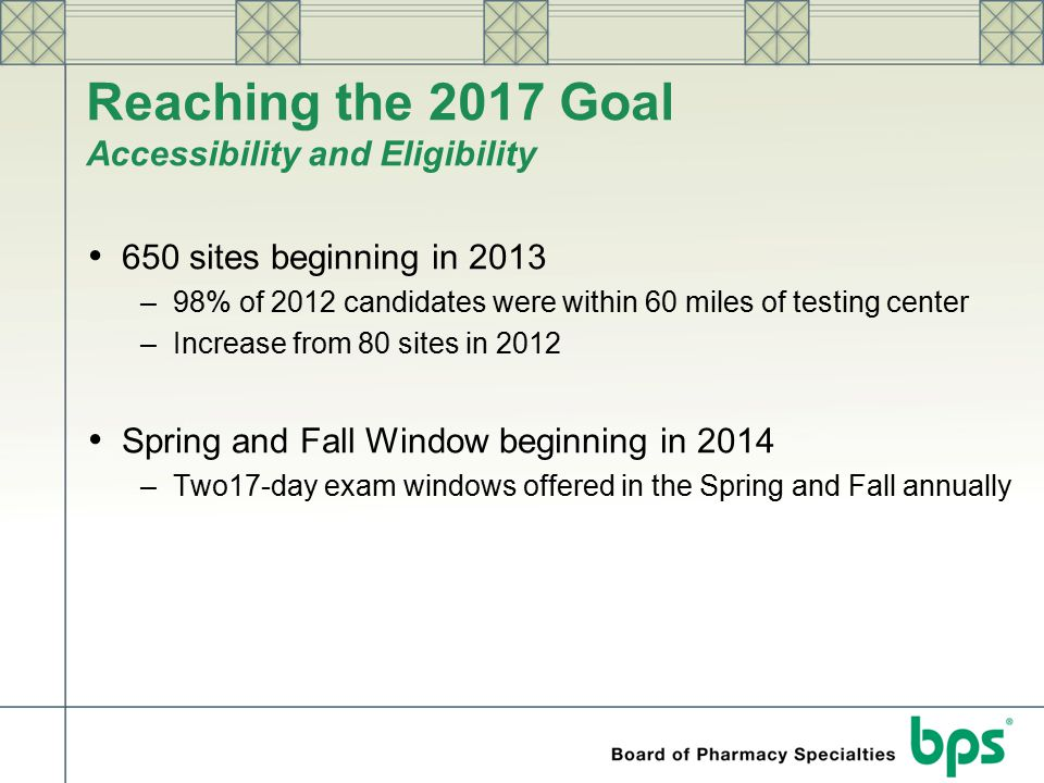 Reaching the 2017 Goal Accessibility and Eligibility