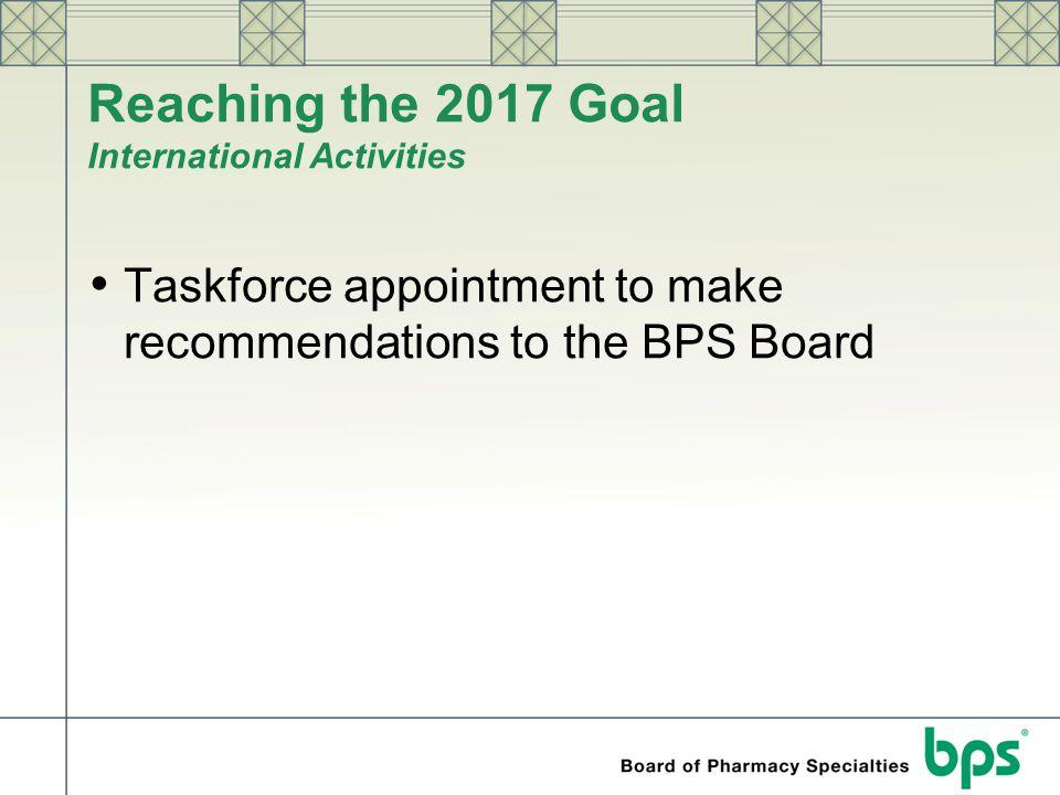 Reaching the 2017 Goal International Activities