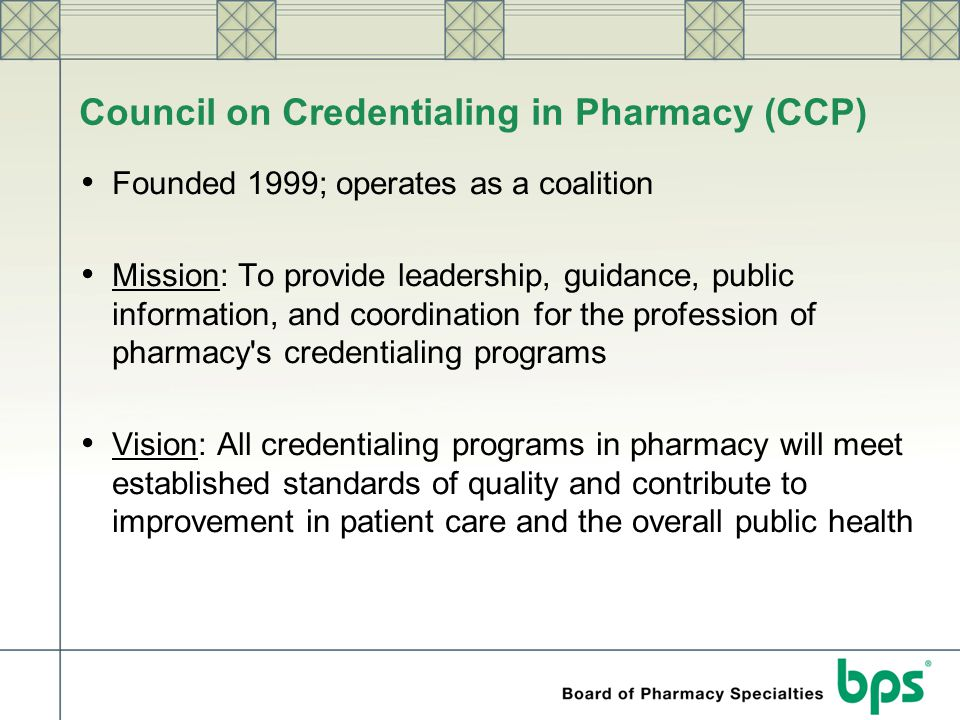Council on Credentialing in Pharmacy (CCP)
