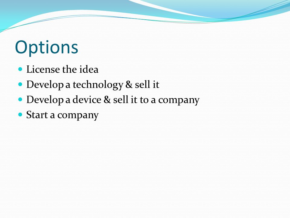 Options License the idea Develop a technology & sell it