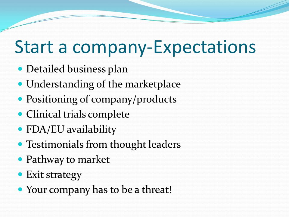 Start a company-Expectations