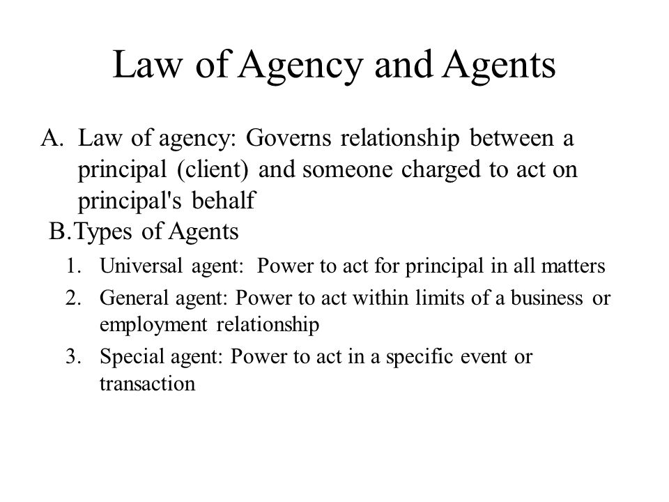 Law of Agency and Agents