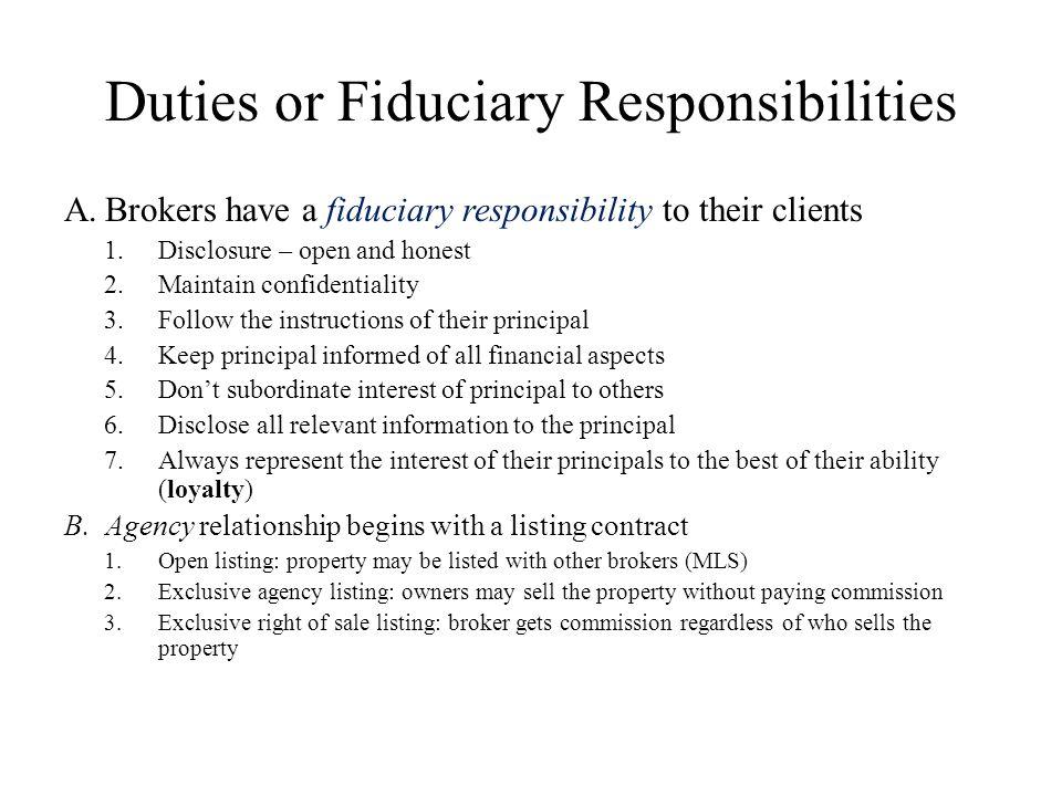 Duties or Fiduciary Responsibilities