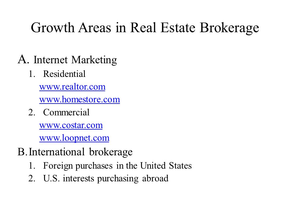 Growth Areas in Real Estate Brokerage