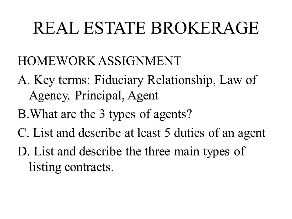 Chapter 12 real estate brokerage and listing contracts ppt download 9 real estate brokerage homework assignment platinumwayz