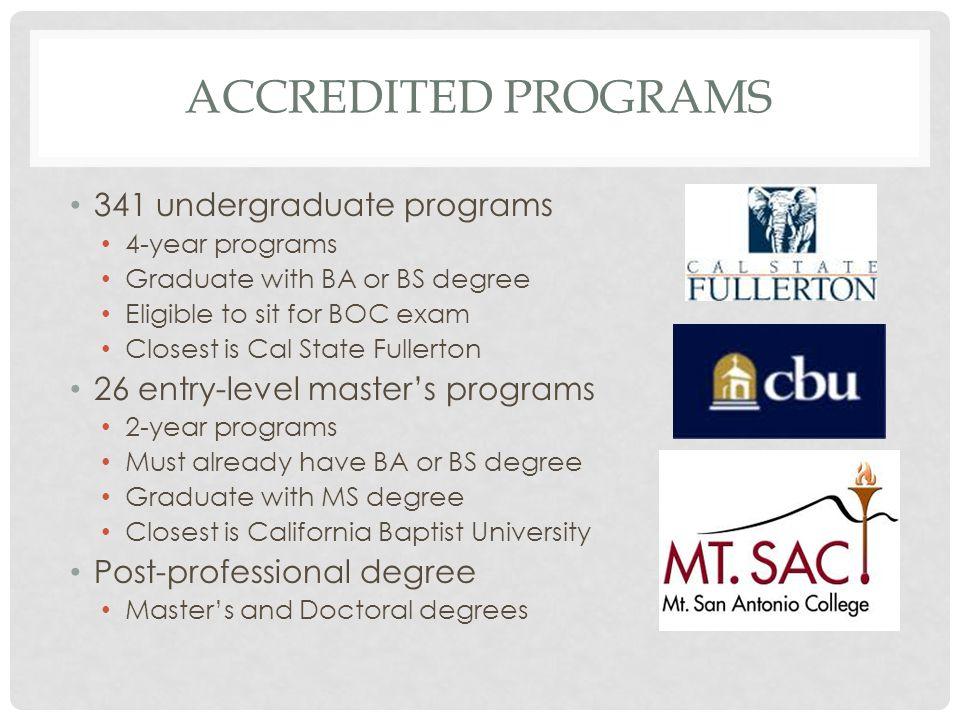 Accredited programs 341 undergraduate programs