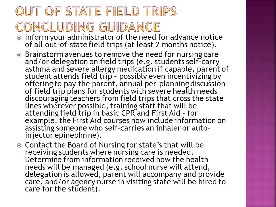 Out of state field trips concluding guidance