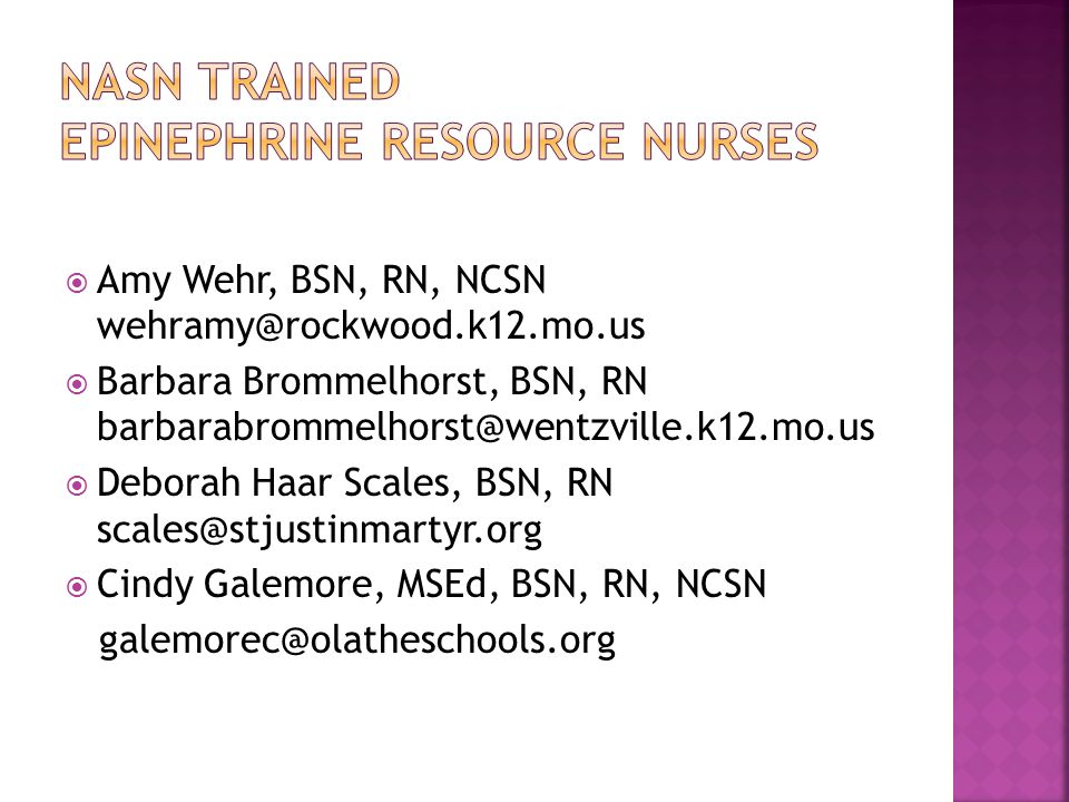 NASN Trained Epinephrine Resource Nurses