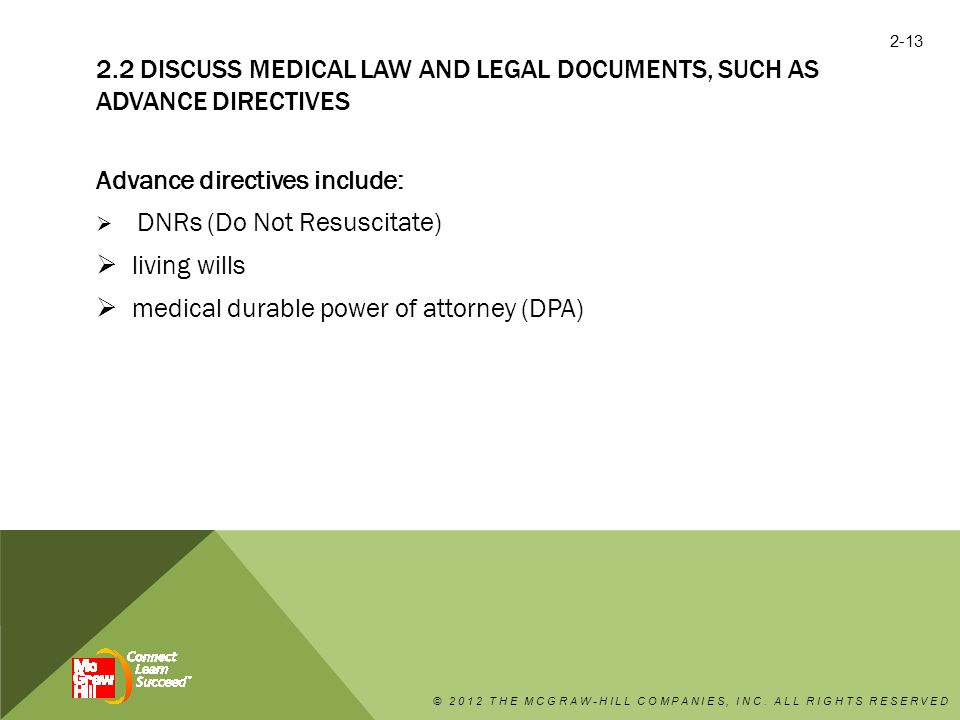 Advance directives include: