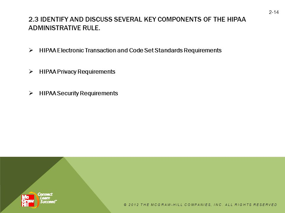 2.3 Identify and discuss several key components of the HIPAA Administrative Rule.