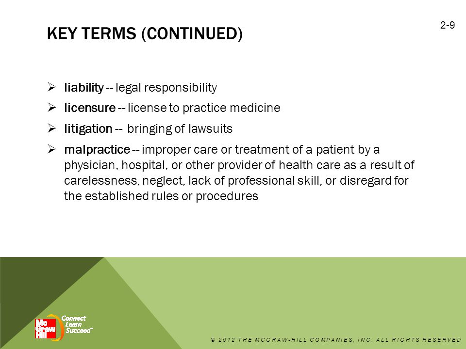 key terms (continued) liability -- legal responsibility