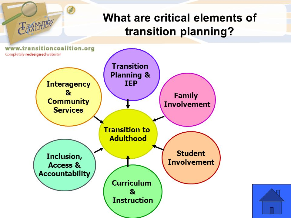 What are critical elements of transition planning