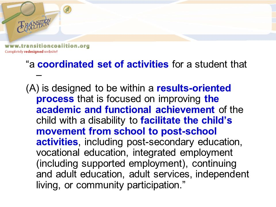 a coordinated set of activities for a student that –