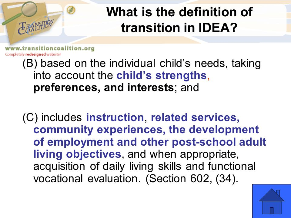 What is the definition of transition in IDEA