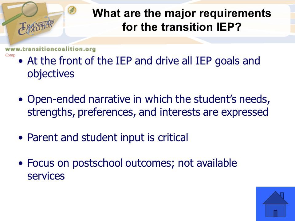 What are the major requirements for the transition IEP