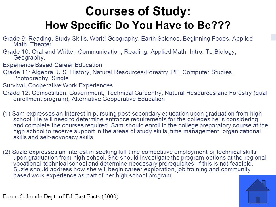 Courses of Study: How Specific Do You Have to Be